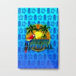Hawaii Sunset Blue Tiki Metal Print