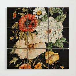 Wildflower Bouquet on Charcoal Wood Wall Art