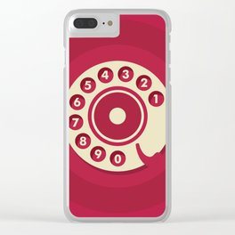 Vintage Red Telephone Clear iPhone Case