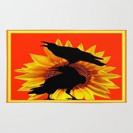 Orange-Yellow Sunflower Crows Whimsey Rug