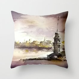 Maidens Tower Istanbul Throw Pillow