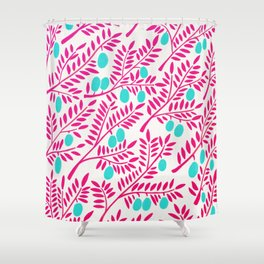 Olive Branches – Pink Ombré & Turquoise Shower Curtain