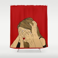 introvert Shower Curtains featuring Introvert 5 by Heidi Banford