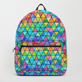 Little Rainbow Watercolor Triangles on Teal Backpack
