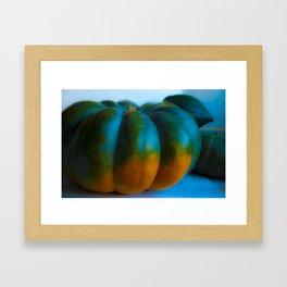 Blue Light Pumpkin Framed Art Print