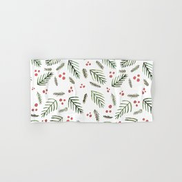 Christmas tree branches and berries - vintage Hand & Bath Towel