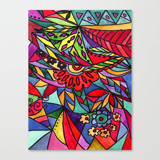 Modern art, hand drawn print Canvas Print