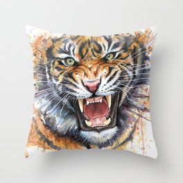 Tiger Watercolor Animal Painting Throw Pillow