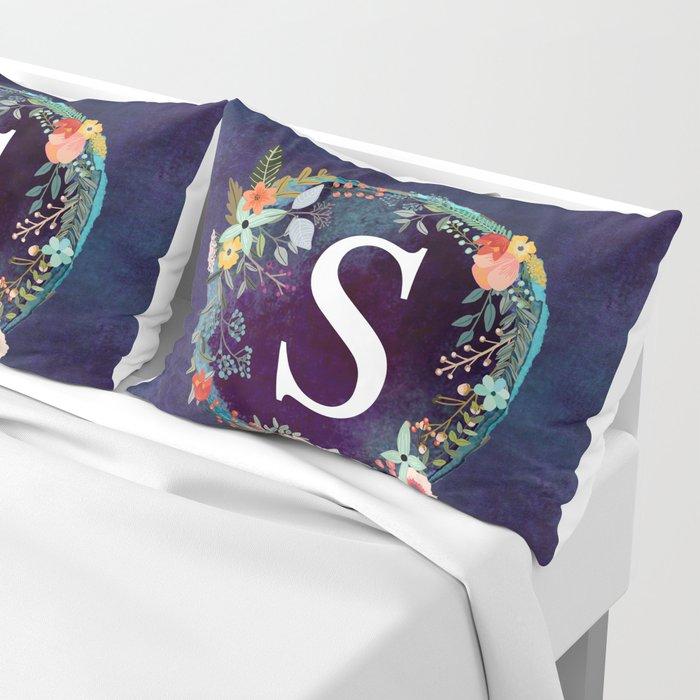Personalized Monogram Initial Letter S Floral Wreath Artwork Pillow Sham