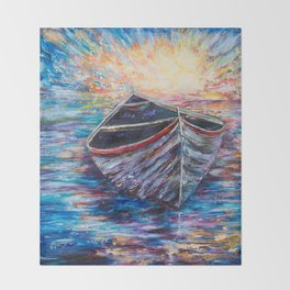 Wooden Boat at Sunrise - original oil painting with palette knife #society6 #decor #boat Throw Blanket