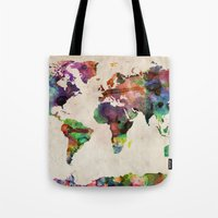 toronto Tote Bags featuring World Map Urban Watercolor by artPause