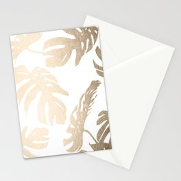 Simply Tropical Palm Leaves in White Gold Sands Stationery Cards