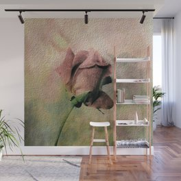 Painterly Pink Rose Bud Wall Mural