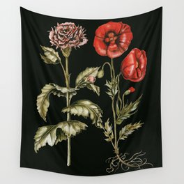Carnation & Poppy on Charcoal Wall Tapestry