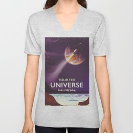 Tour the universe space travel poster Unisex V-Neck