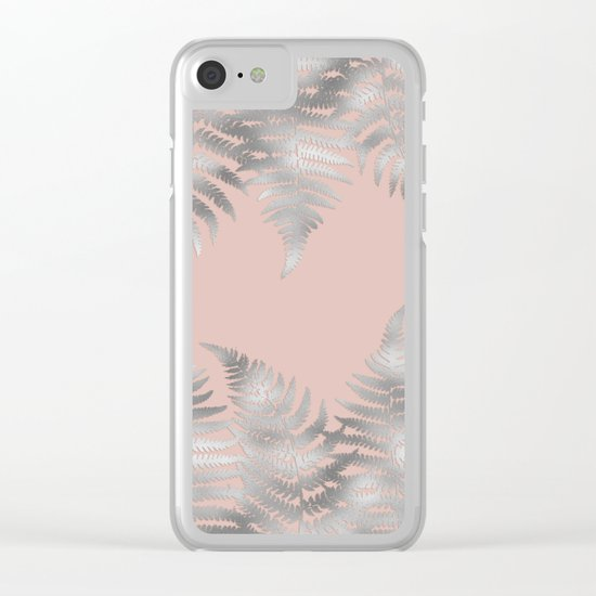 Silver fern leaves on rosegold - abstract pattern Clear iPhone Case