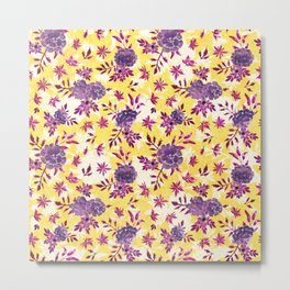Marigolds and Borage Flowers Purple and Yellow Floral Pattern Metal Print