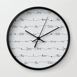 Jesus Loves Me - grey handwritten lyrics Wall Clock