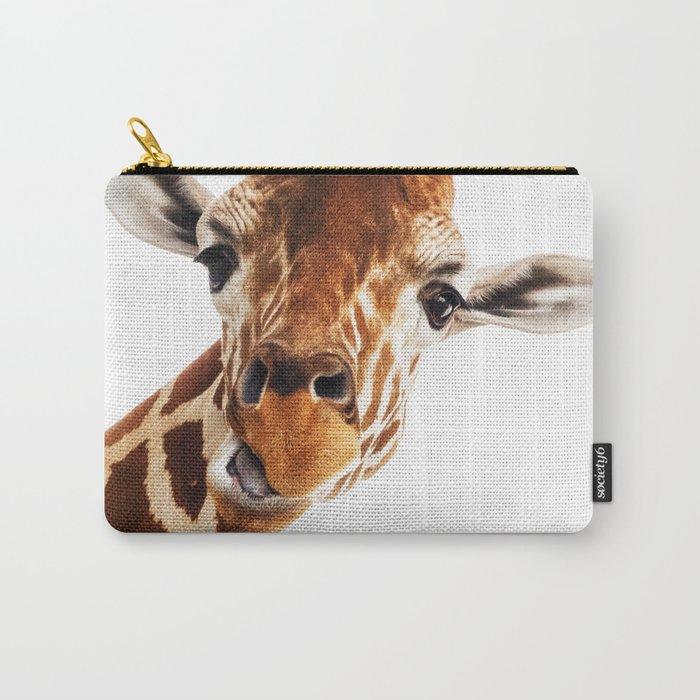 Silly Giraffe // Wild Animal Portrait Cute Zoo Safari Madagascar Wildlife Nursery Ideas Decor Carry-All Pouch
