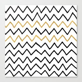 Writing Exercise-Simple Zig Zag Pattern- Black on White Gold - Mix & Match with Simplicity of life Canvas Print