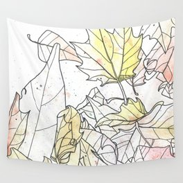 Autumn Leaves Watercolor Wall Tapestry