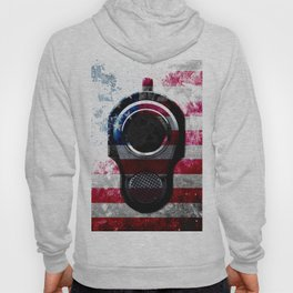 M1911 Colt 45 and American Flag on Distressed Metal Hoody