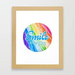 Smile Everyday, Happy sticker, Cute sticker, crayon colors, blue version Framed Art Print