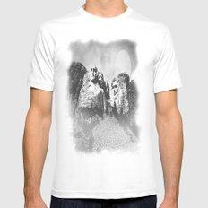 Rushmore at Night MEDIUM White Mens Fitted Tee