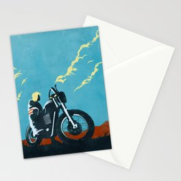 Retro caferacer scrambler motorcycle poster Stationery Cards