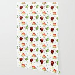 Hula Hooping Fruit Pattern Wallpaper