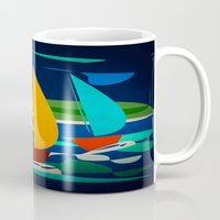 sailing Mugs featuring sailing by laika in cosmos
