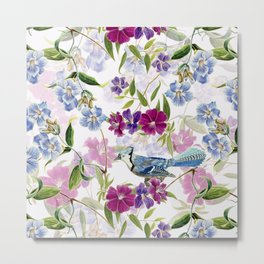 Vintage & Shabby Chic - Blue Jay and Flowers Garden Metal Print