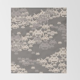 Space Invader Camo Throw Blanket