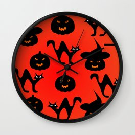 Halloween with cats and pumpkins Wall Clock