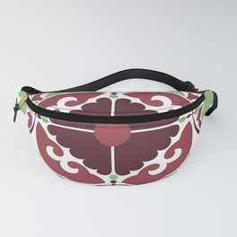 Mid Century Modern Flower Pattern Red and Green Fanny Pack