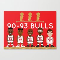 chicago bulls Canvas Prints featuring 3-Peat Bulls by Hoop Dream Ink