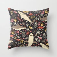 positive Throw Pillows featuring Oceanica by Anna Deegan