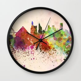 Memphis skyline in watercolor background Wall Clock