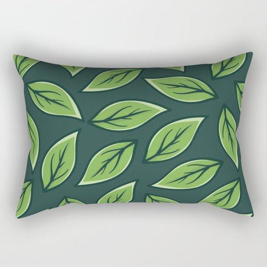 Green Leaf Pattern Rectangular Pillow