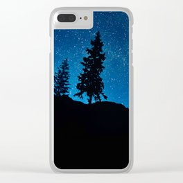 Amazing Blue Ombre Night Sky With Tree Silhouette Clear iPhone Case