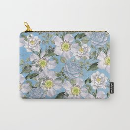 Vintage Rose Pattern Blue Carry-All Pouch