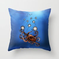 octopus Throw Pillows featuring Octopus by Anna Shell