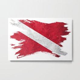 Vintage style scuba flag. Diver down flag Metal Print