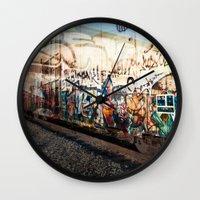 grafitti Wall Clocks featuring Grafitti Train by Squint Photography