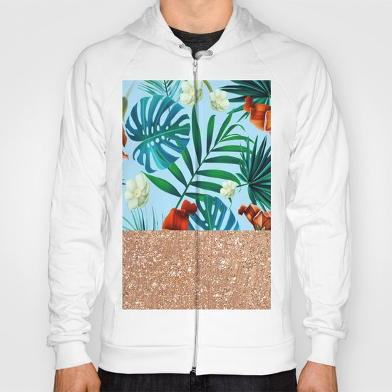 Tropical blue floral rose gold Hoody