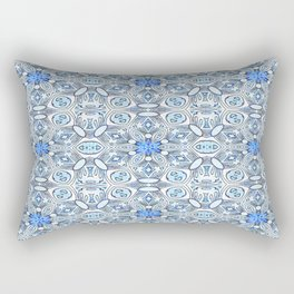 Blue White and Grey Structured Floral Geometric Rectangular Pillow