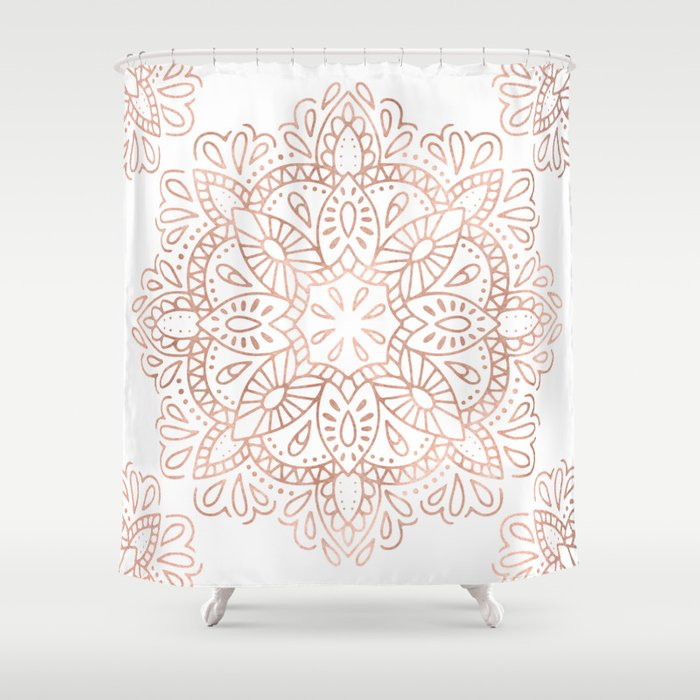 Mandala Rose Gold Pink Shimmer By Nature Magick Shower Curtain