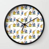 finn and jake Wall Clocks featuring  Finn&Jake  by memo_alatouly