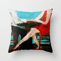 dress Throw Pillows featuring Red Dress by James Peart