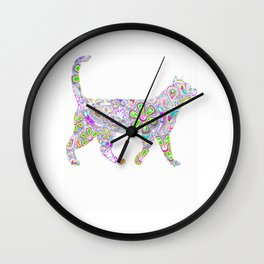 Neon Rainbow Flowers Cat Wall Clock